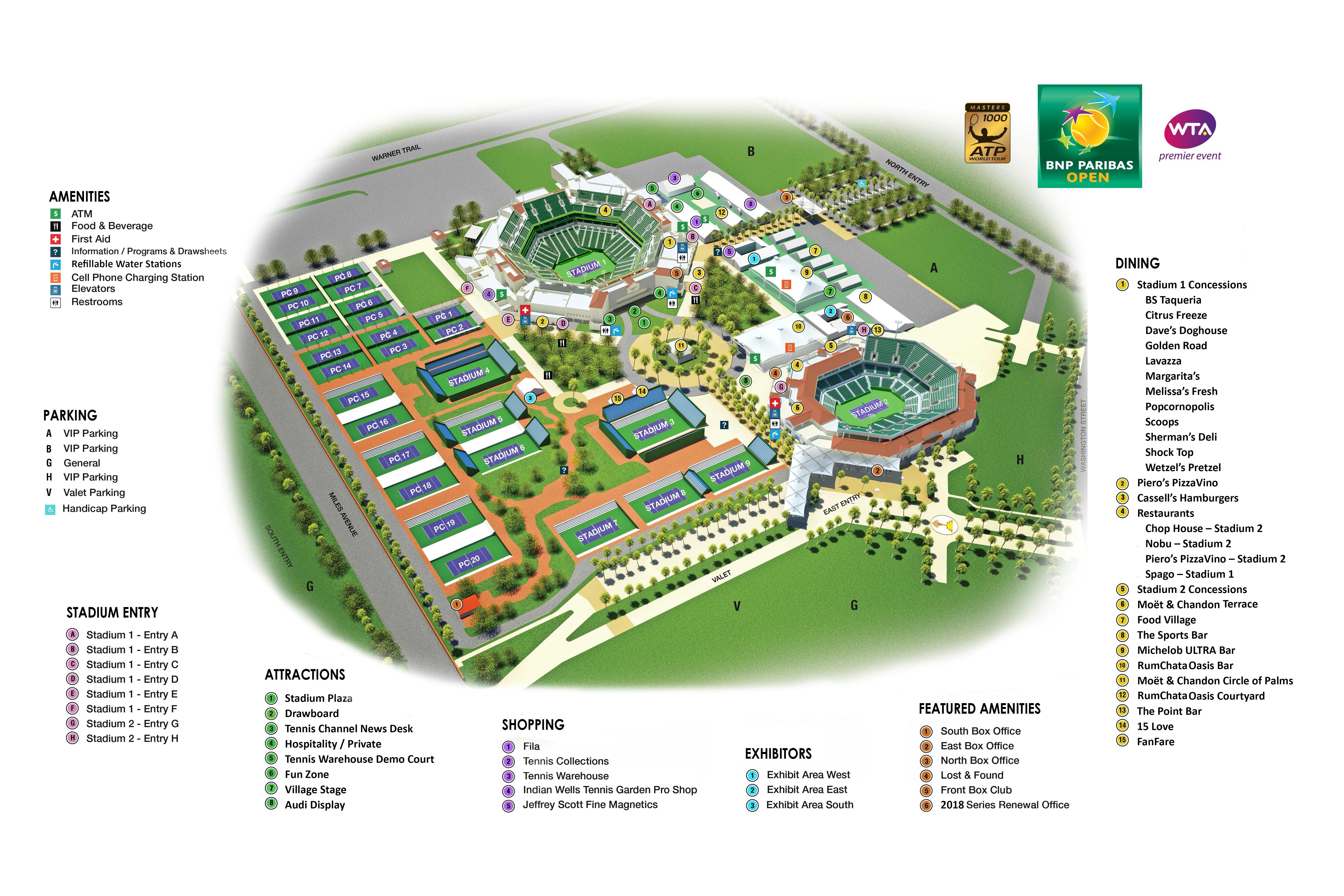 indian wells tennis garden map - Indian Wells Tennis Garden