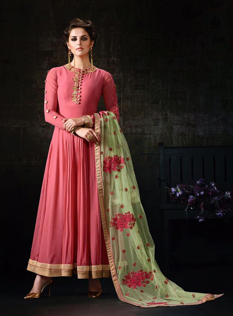 Pink georgette long anarkali suit anarkali suit pinterest
