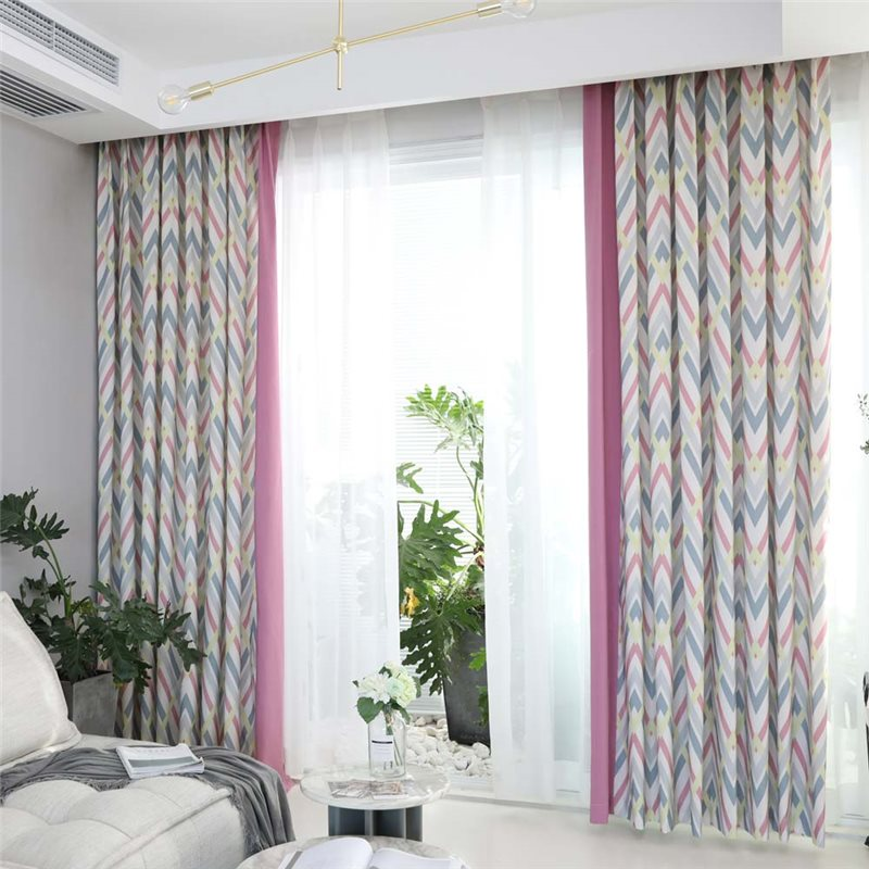 Modern Semi Blackout Curtain Geometric Printed Curtain Living Room Curtain One Panel Curtains Living Room Curtains Living Room Modern Curtains