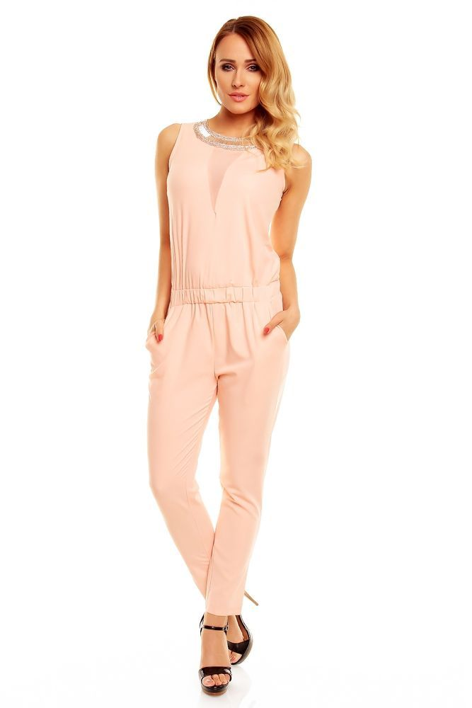 Pastell Rosa Damen Overall Jumpsuit Anzug Lang Bestickt Party Abend