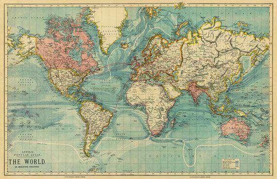 Cartina Geografica Del Mondo Grande.Cartina Geografica Mondo Da Parete Quadro Vintage Mappa Del