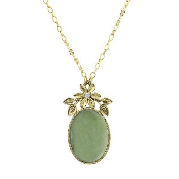 Floral Garland Green Jade Pendant Necklace
