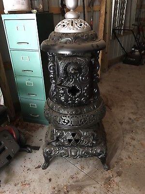 Details About Antique Vintage Blue Cast Iron Coal Wood