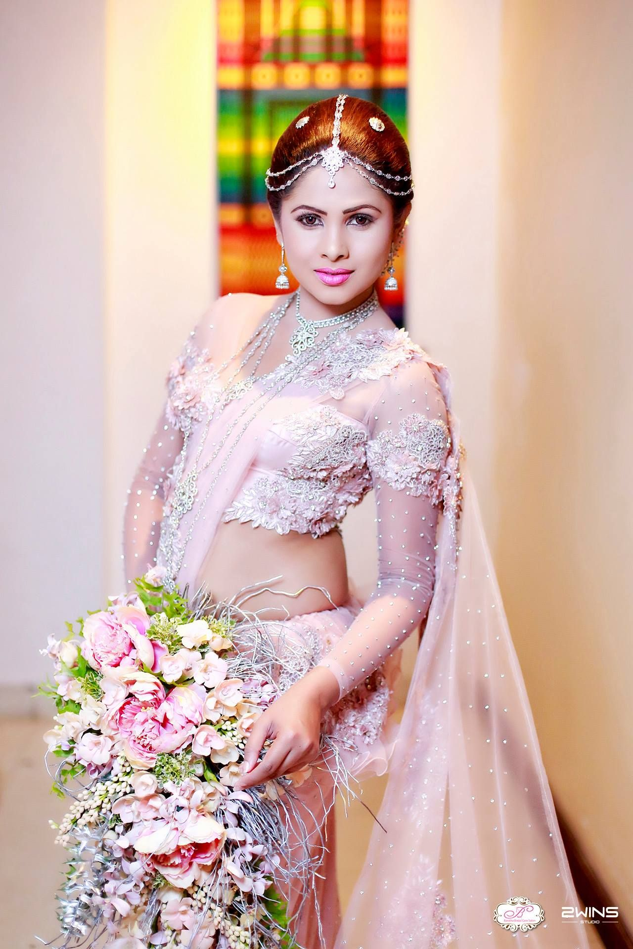 Sri lankan bride dressed by baratha indeera dress for Wedding party dresses in sri lanka