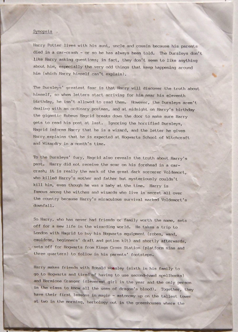 J K Rowling Sketches And Plot Outlines For Harry Potter Flashbak First Harry Potter Rowling Plot Outline [ 1396 x 1000 Pixel ]