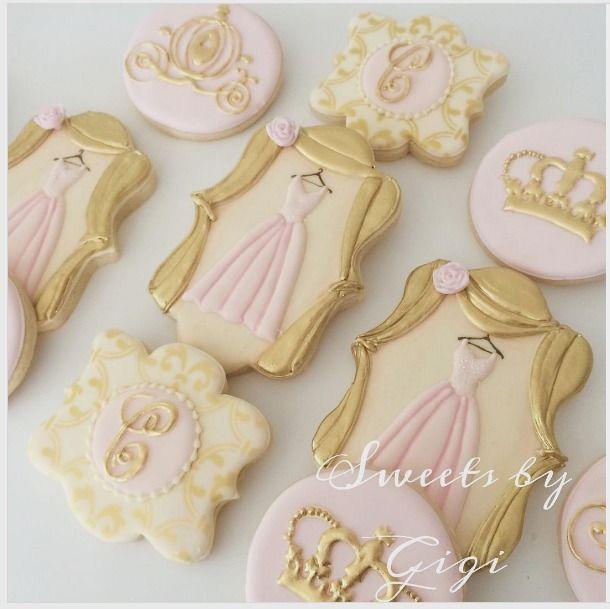 """@sweetsbygigi on Instagram: """"Complete set princess cookies#lovewhatido #love #pink #instadaily #goldeverything #girly #instalove #cookies #customcookies…"""""""