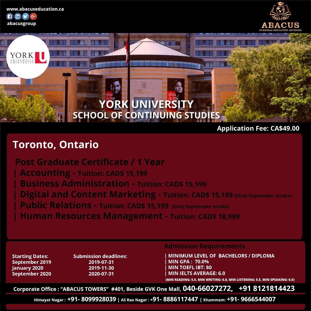 York University School Of Continuing Stu S
