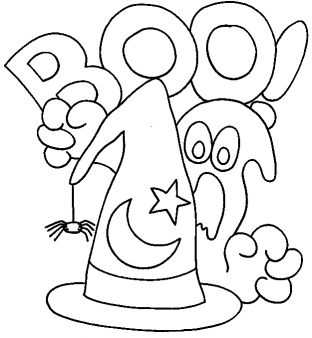 Printable happy halloween ghosts coloring in sheet - Printable Coloring Pages For Kids