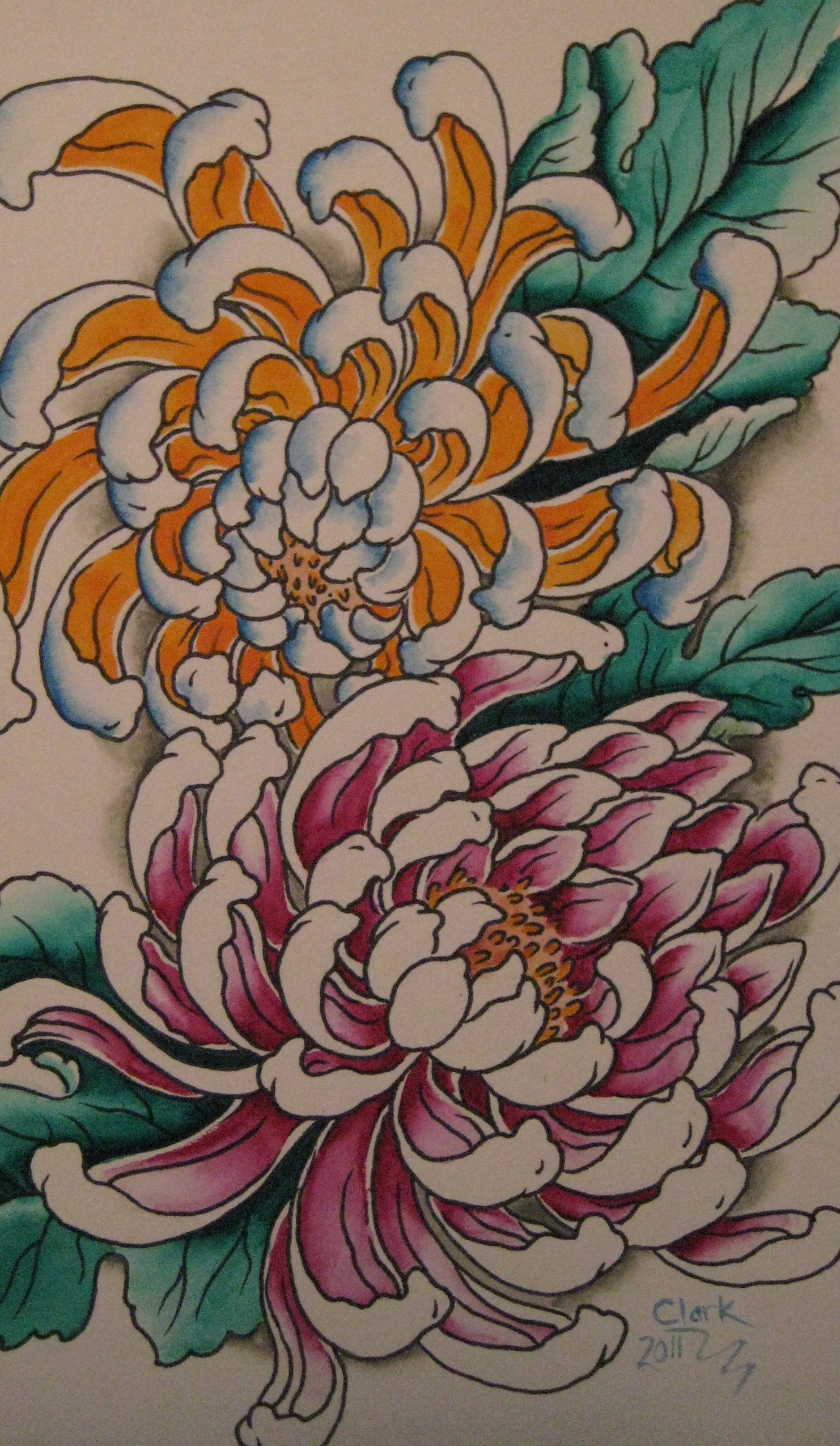 chrysanthemum tattoo outline. Black Bedroom Furniture Sets. Home Design Ideas