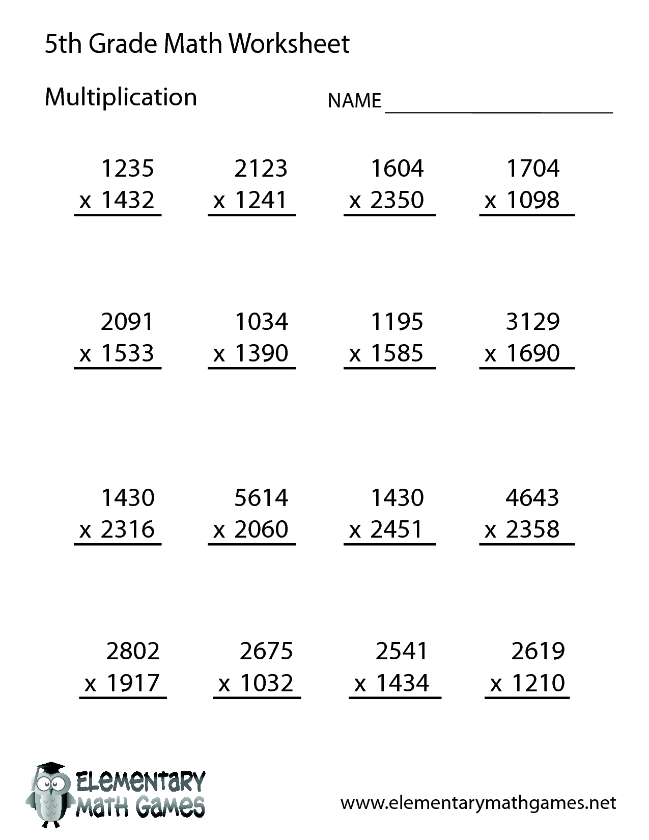 Free Math Worksheets for 5th Grade – Math Worksheets for 5th Grade Multiplication