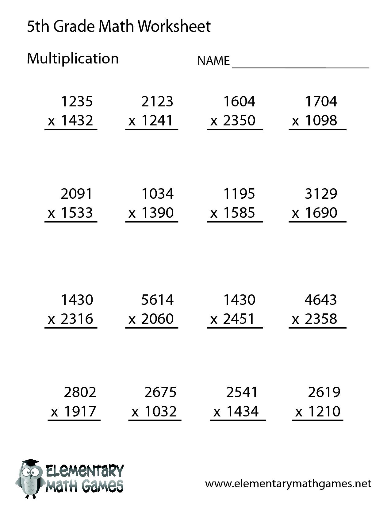 Free Math Worksheets for 5th Grade | 5th Grade Math ...
