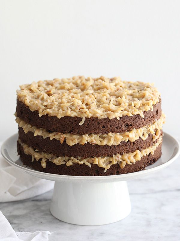 German Chocolate Cake with a decadent coconut and pecan frosting