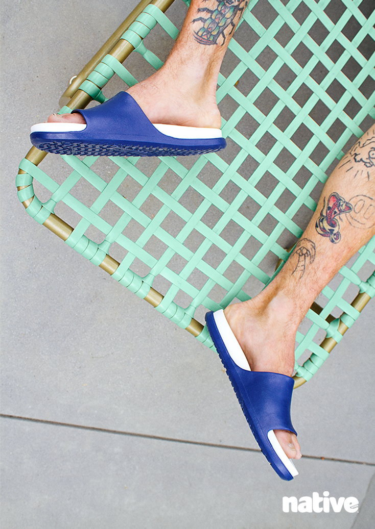 5847b683cf0f Made for poolside lounging  the Native Shoes Spencer LX slide sandals.