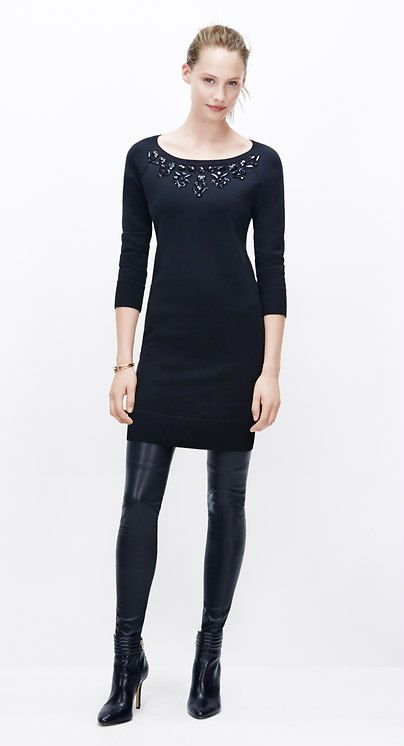 838ec6bf10a Must-Have Look  Pair a sweater dress with leather leggings to keep warm and look  cool l Ann Taylor