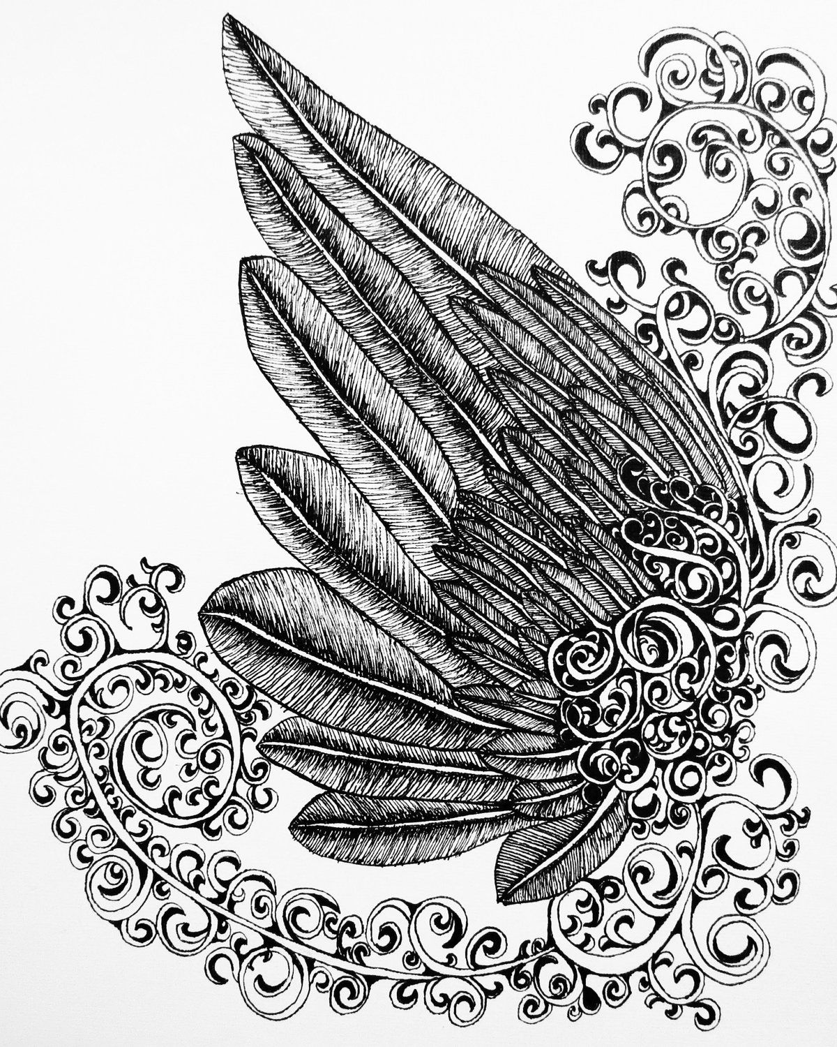 Printable Wing And Filigree Swirls Pen And Ink Drawing By