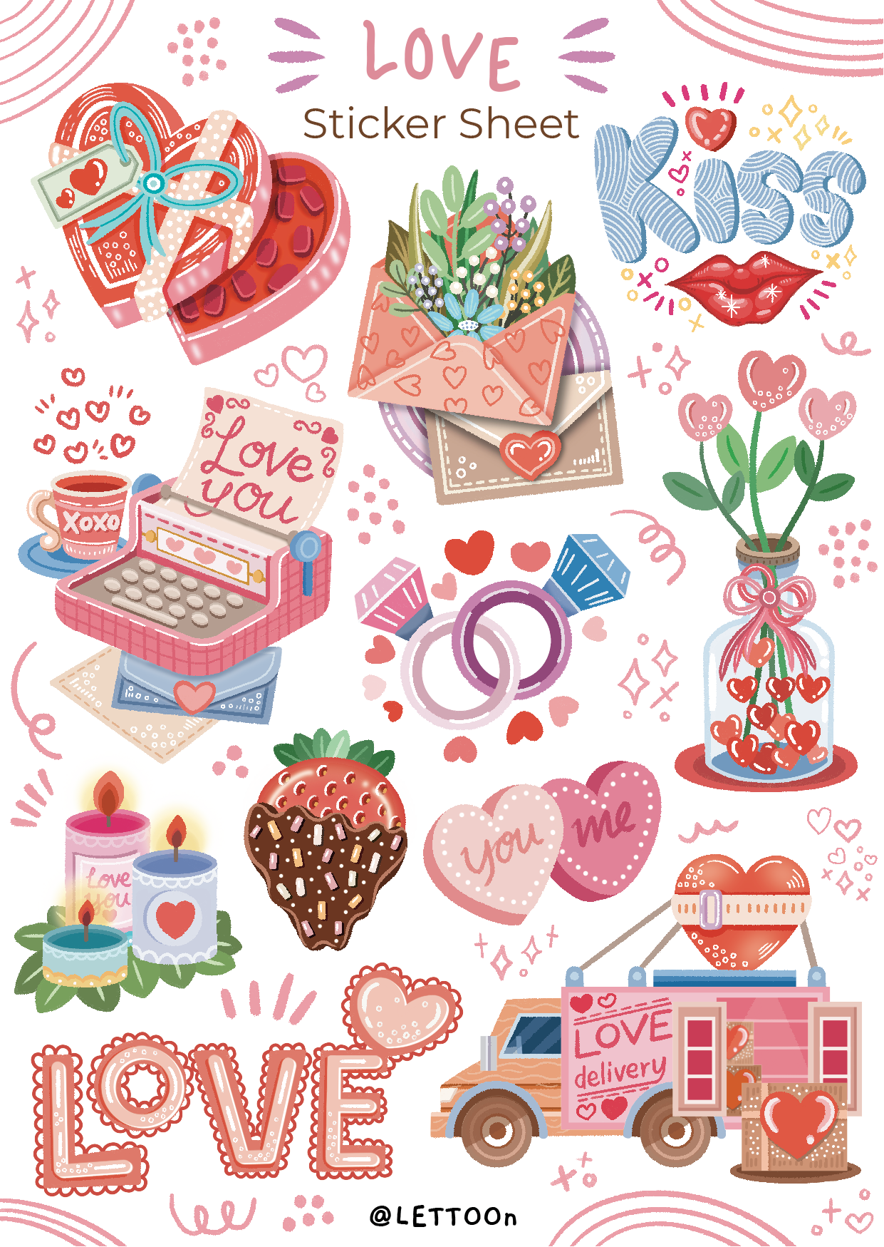 Love Sticker Sheet | Handmade stickers for your daily planner