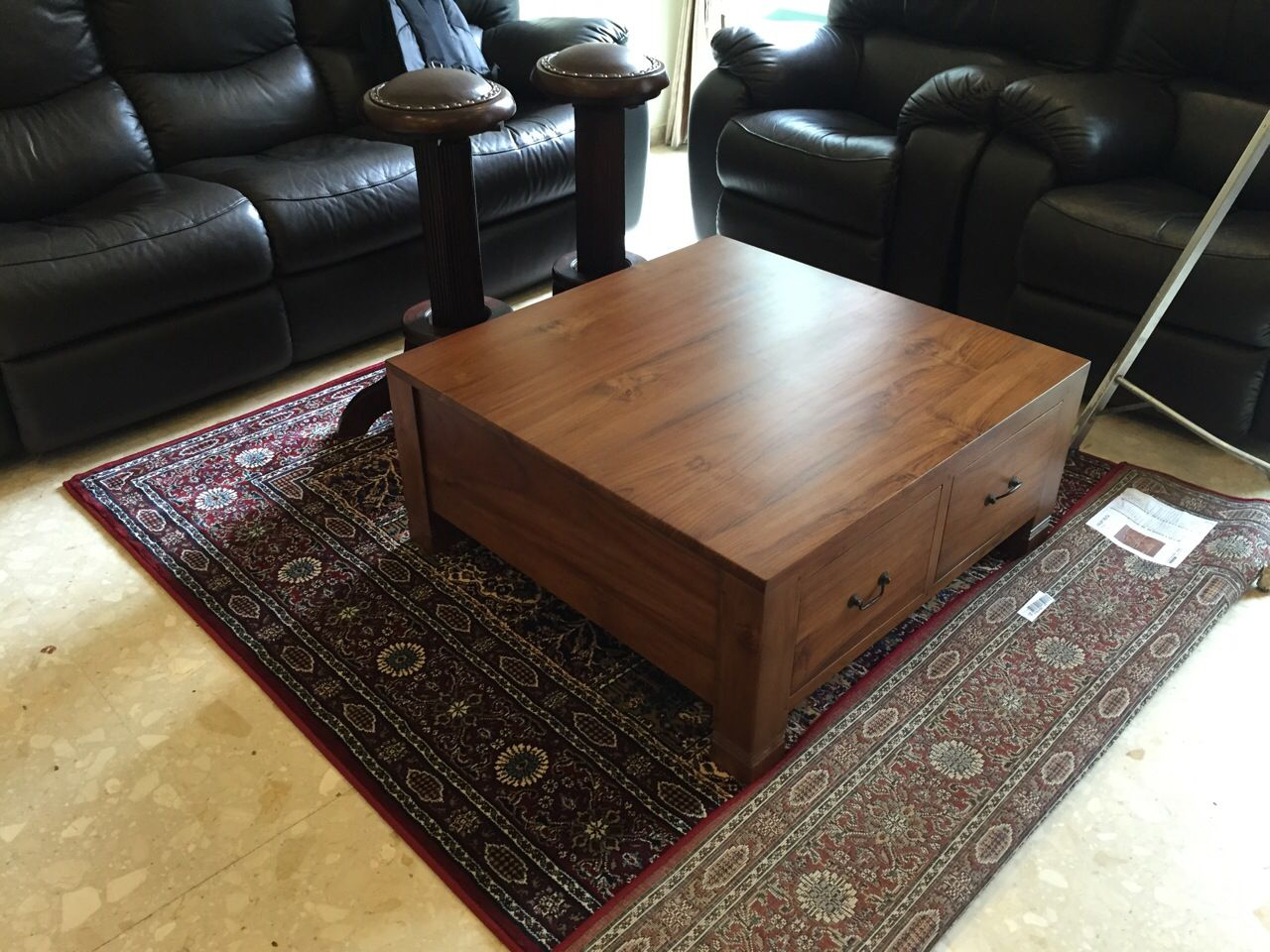Square teak coffee table with drawers | Square teak coffee ...
