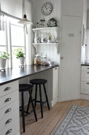 Cottage Kitchen with EKBY HEMNES/ EKBY HENSVIK, L-shaped, Pendant light, Wood counters, Flush, Raised panel, Standard height
