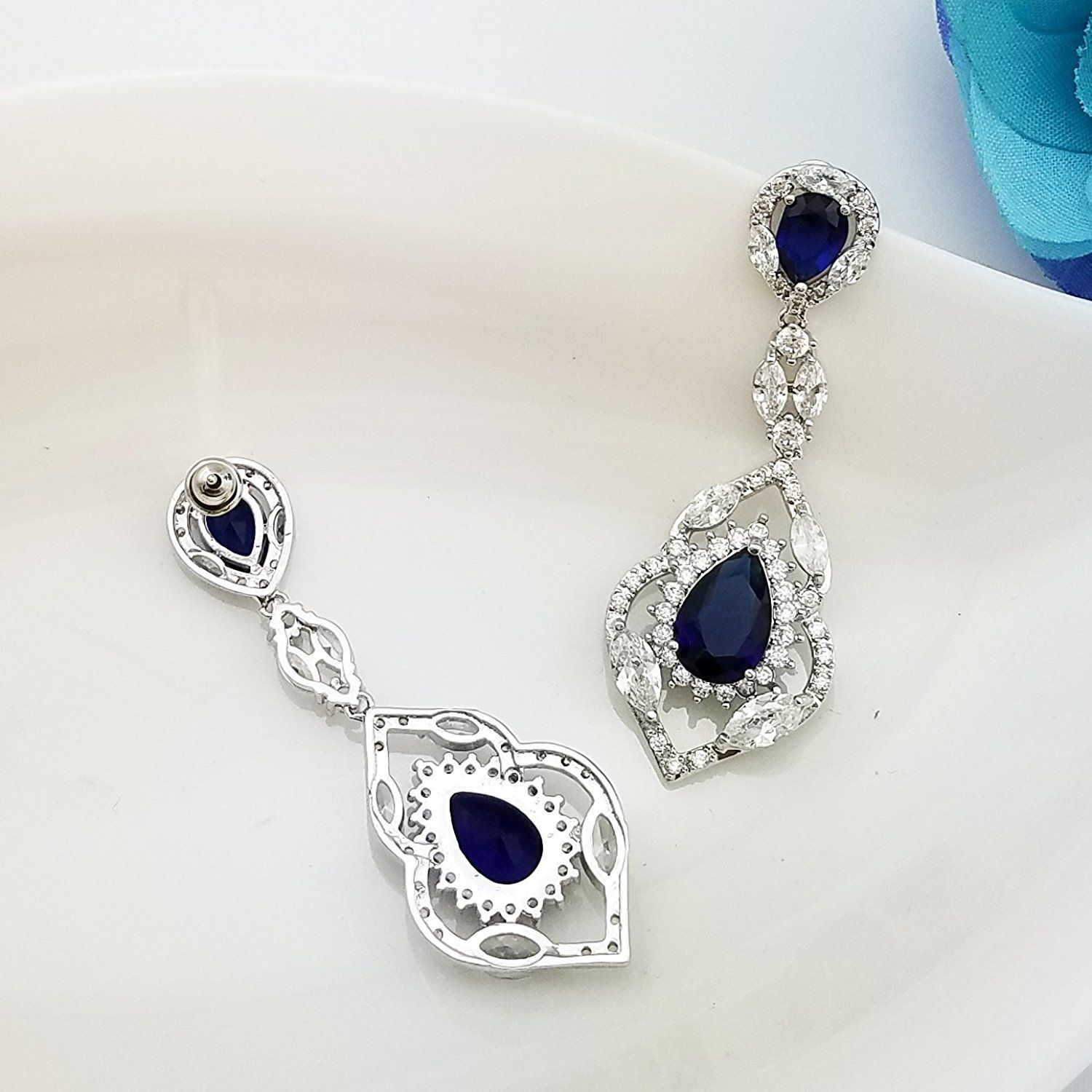 Selovo Wedding Teardrop Dangle Earrings Silver Tone Vintage Chandelier Zircon Check Out This Great Article