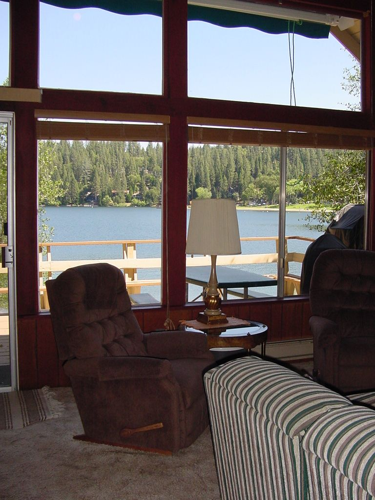 Pine Mountain Lake #LAKEFRONT vacation rental, MOUNTAIN LAKESIDE RETREAT, unit 1 lot 266, is adjacent to Dunn Court Beach. Photo shows lakeview from interior cabin. Master calendar & online booking: http://www.yosemiteregionresorts.com/48198.htm #CaliforniaLakeHouse #LakeView #YosemiteCabin #PineMountainLake #Groveland #YosemiteRegionResorts