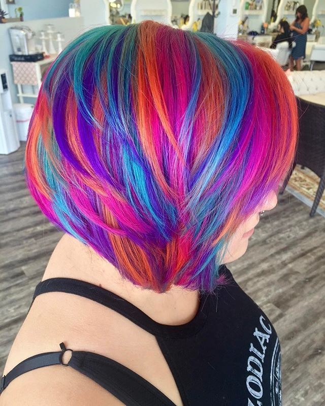 WEBSTA @ allydestouttt - ❤️ happy Valentine's Day! Here's some of my favorite rainbow hair, love the colors! Using @manicpanicnyc ! #modernsalon #behindthechair #americansalon #imallaboutdahair #mermaidians #love #authentichairarmy #hairstyles #hairstylist #ohiostylist #vivid #mermaidhair #rainbowhair #boldhair #brighthair #hairgoals #hairporn #transformation #updo #lovemyjob #lovemyclients #manicpanic #1minutehair #hotonbeauty #bestofhair #pravana