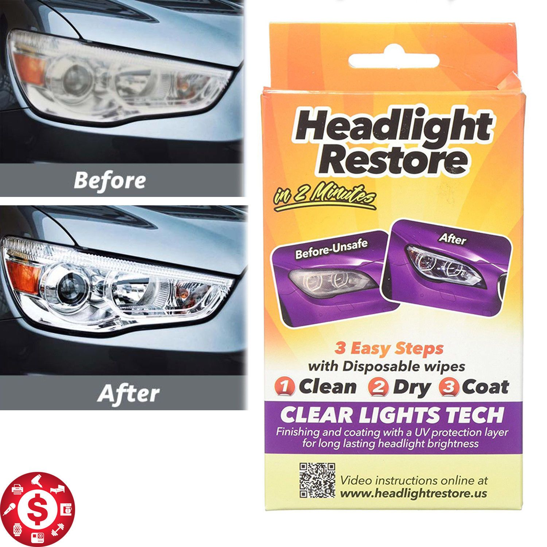 Car Truck Headlight Lens Restorer Wipes Restoration Kit Uv