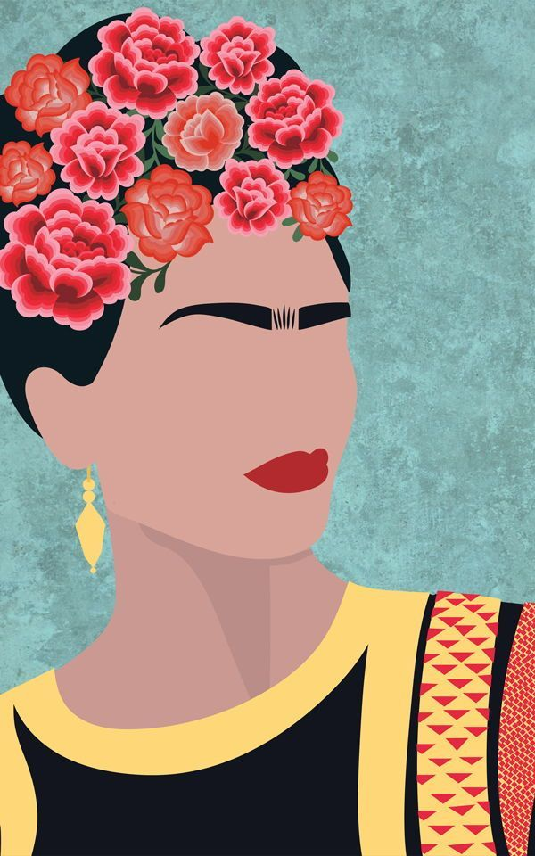 Frida Kahlo Portrait Floral Wallpaper Mural | Murals Wallpaper