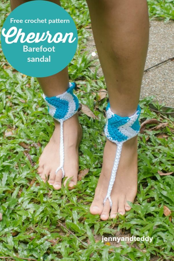 free crochet pattern easy and quick chevron barefoot sandal by ...