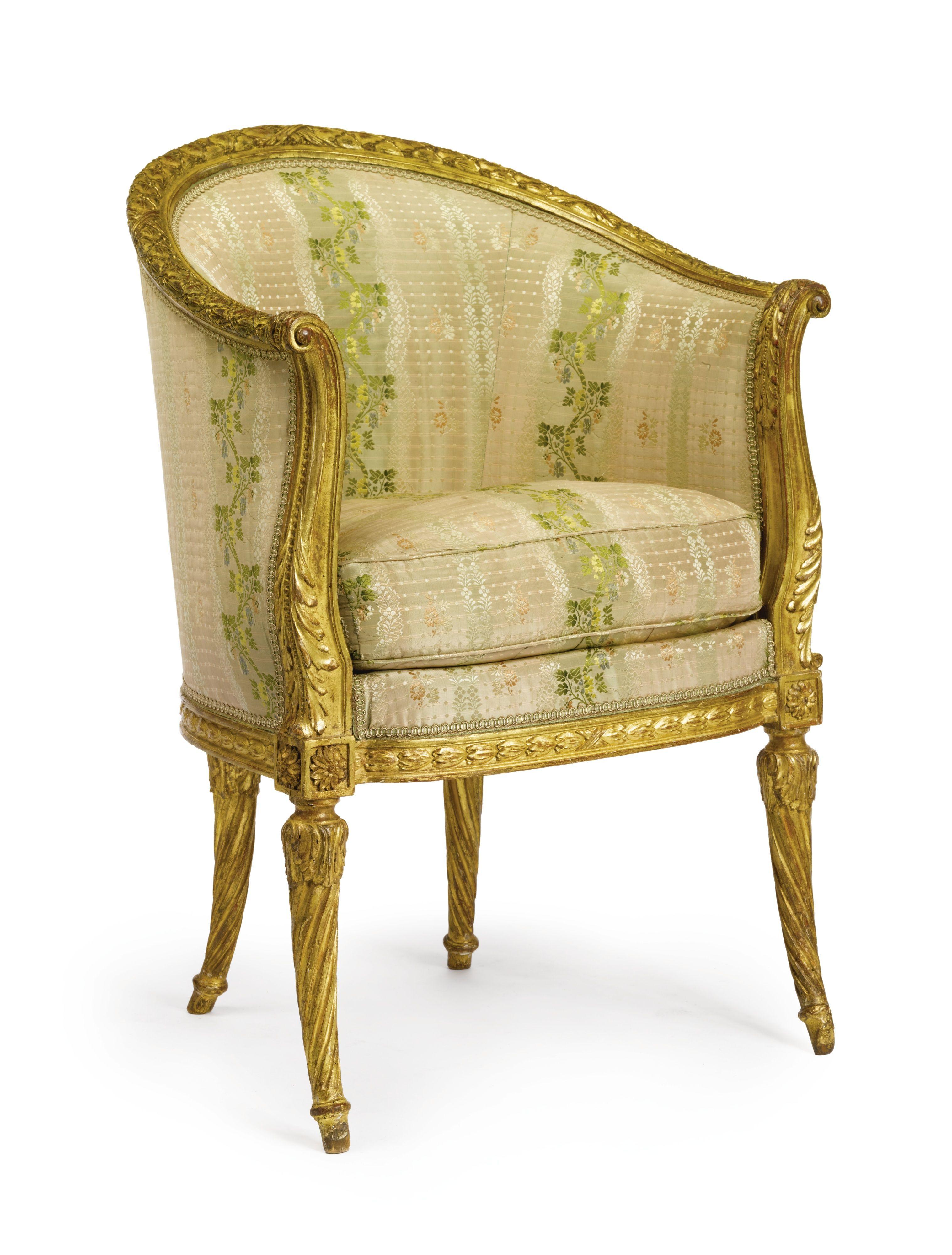 High Quality Antique Chairs · A LOUIS XVI CARVED GILTWOOD BERGÈRE EN GONDOLE LAST  QUARTER 18TH CENTURY Struck Beneath The Seat