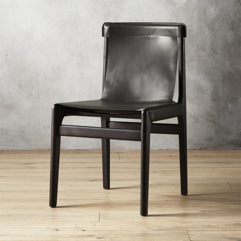 Burano charcoal grey leather sling chair reviews black