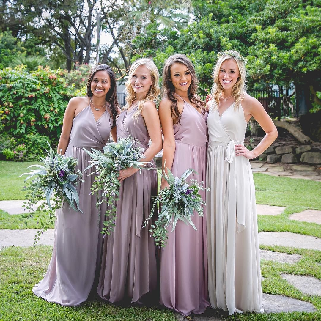 0d78078b1f19 Hannah Chiffon Wrap Dress The happiest bridesmaids are the prettiest  bridesmaids.💕 #ShopRevelry . Styles & Colors: •Hannah Wrap Dress in Latte  Chiffon ...