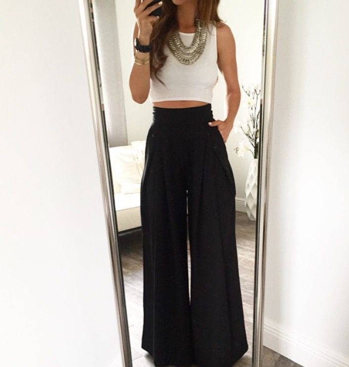 White Plain Pleated Palazzo Trousers Elastic Waist High Waisted ...
