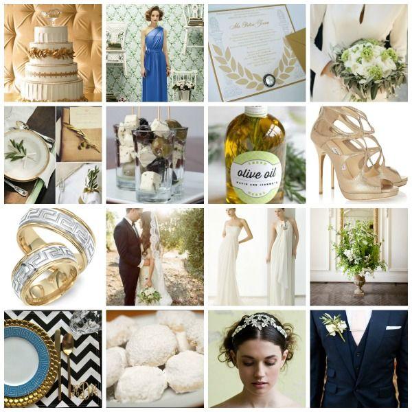Grecian Rhapsody A Greek Inspired Wedding Theme Moodboard And Ideas Greek Wedding Theme Grecian Wedding Wedding