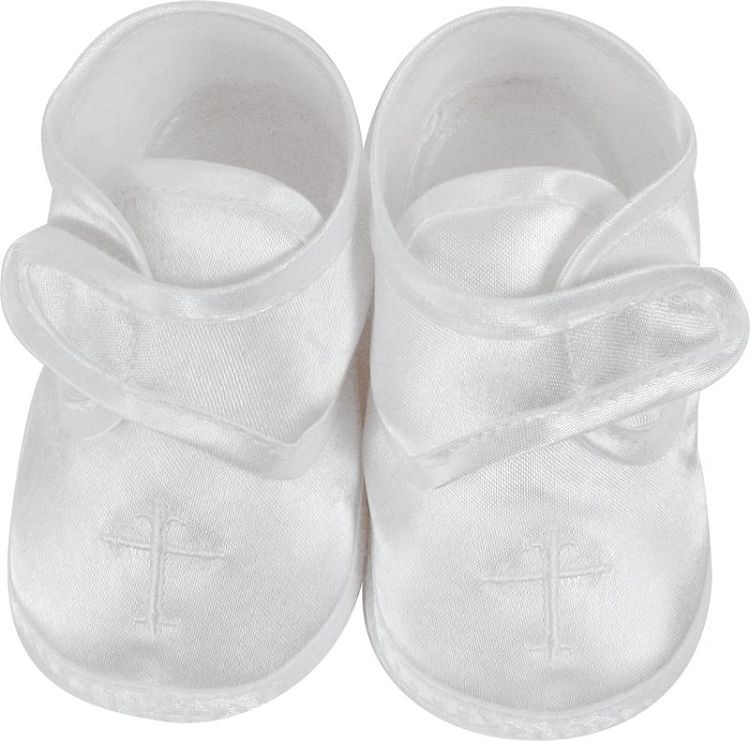 Baby Boys White Satin Crib Shoes Embroidered with Cross for Christening, Baptism, Dedication, $17.00