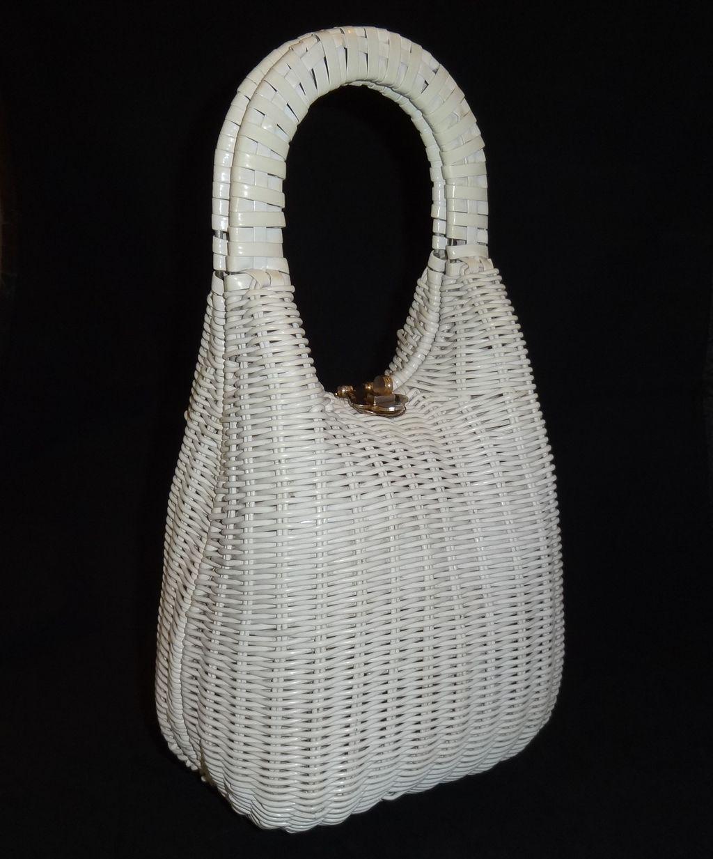 Best Vintage Tall Sleek White Wicker Basket Purse By Lesco Lona 400 x 300