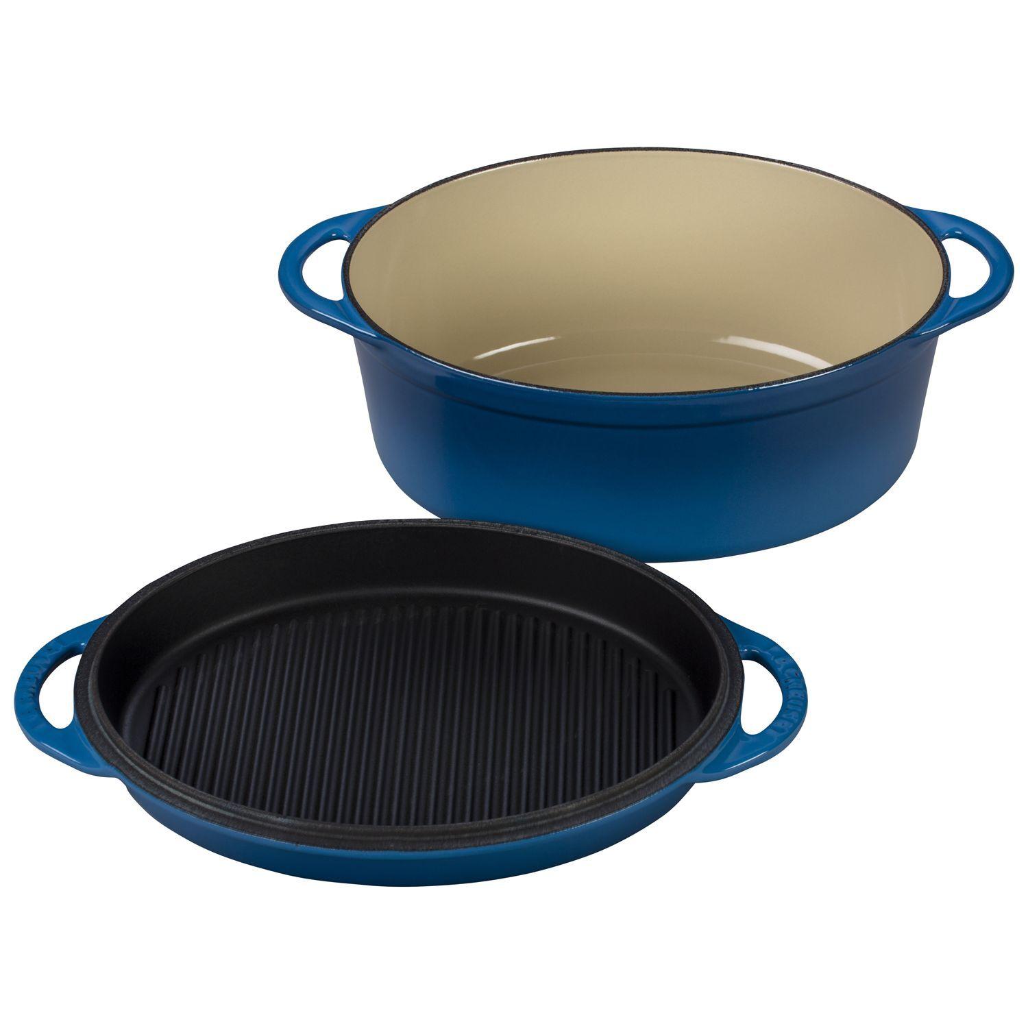 LE CREUSET 4 3⁄4 QT. MULTI-FUNCTION OVAL OVEN WITH GRILL PAN LID, MARSEILLE