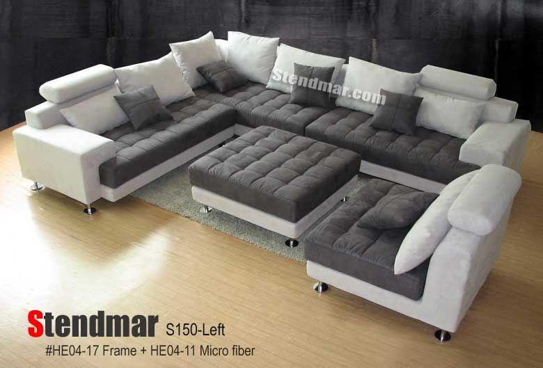 Stendmar Com 5pc Modern 2 Tone Microfiber Sectional Sofa