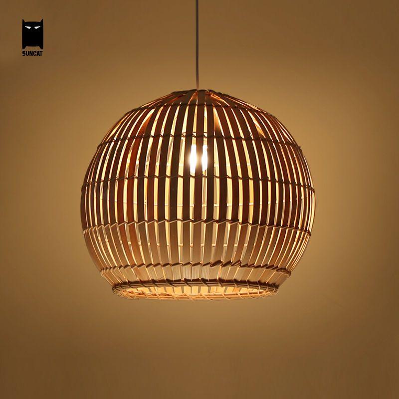 Bamboo Wicker Rattan Globe Shade Pendant Ceiling Light Hanging Lamp ...