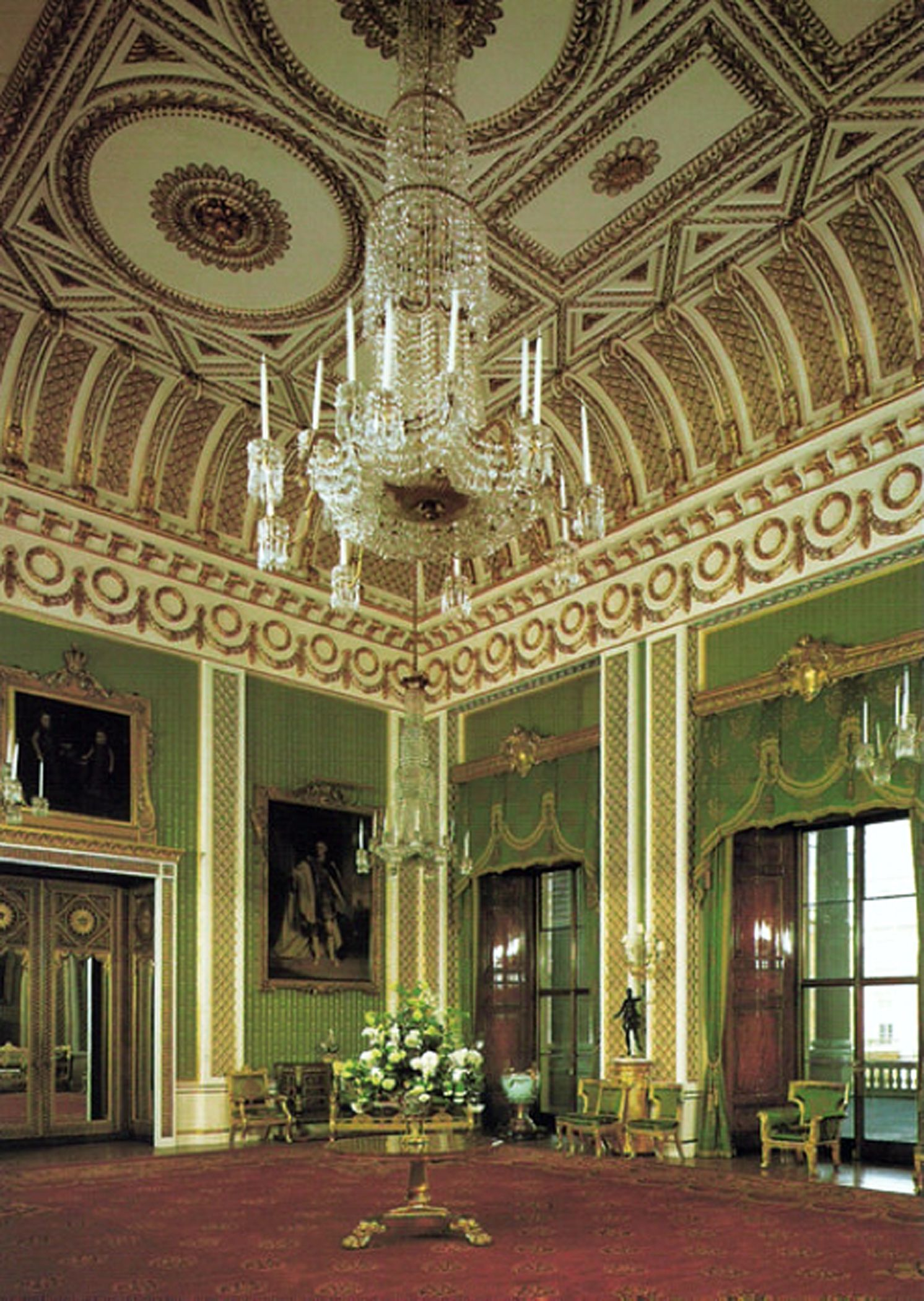 Inside House Drawing: The Green Drawing Room Of Buckingham Palace (photo By