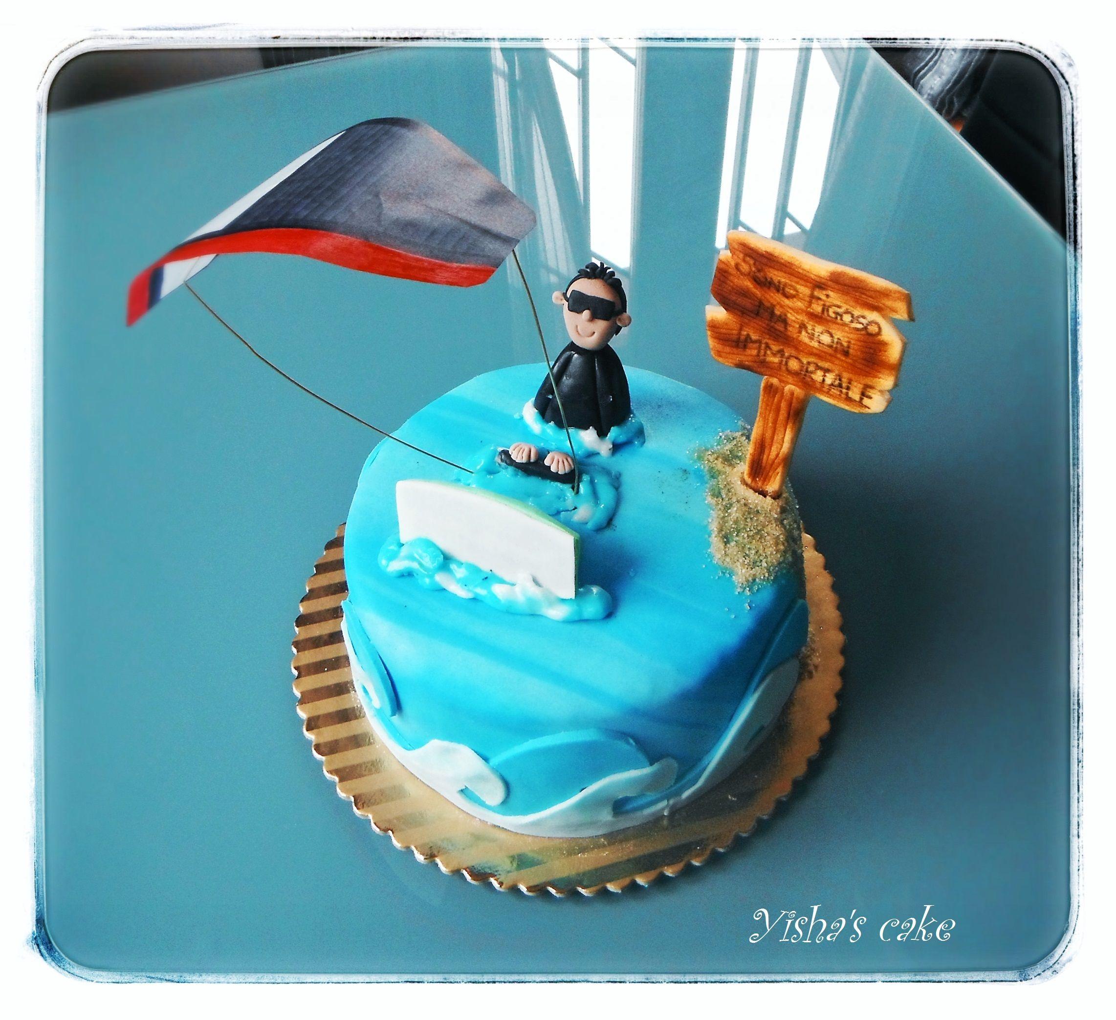 cake design kite kitesurfer cake  Kitesurf, Kuchen, Cumpleaños