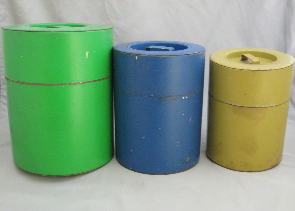 wonderful Retro Metal Canisters Part - 4: Vintage Retro Metal Kitchen #Canisters Made in Japan Set of 3