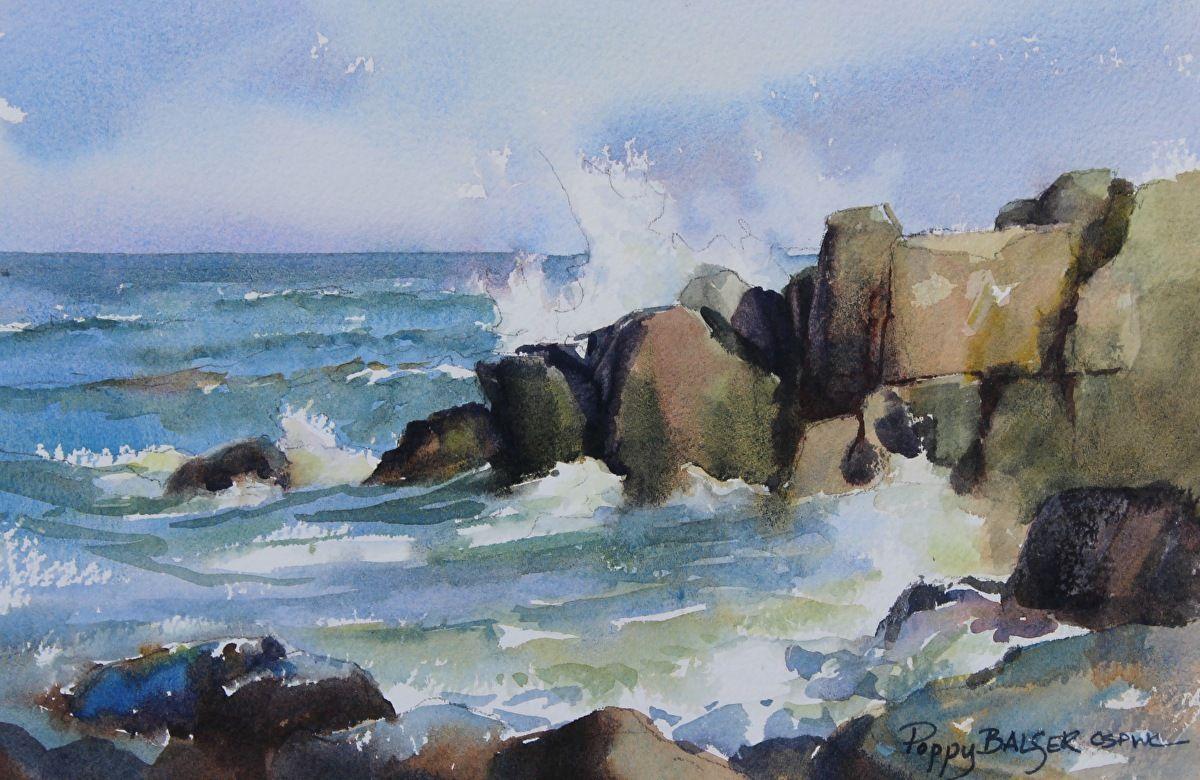 Rising Tide Ii By Poppy Balser Watercolor 7 X 10 Mer Aquarelle