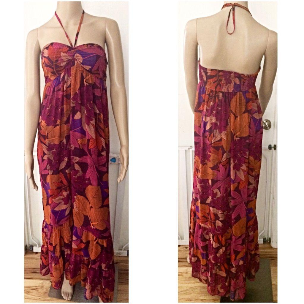 Euc hum floral leaves fauna maxi halter dress products
