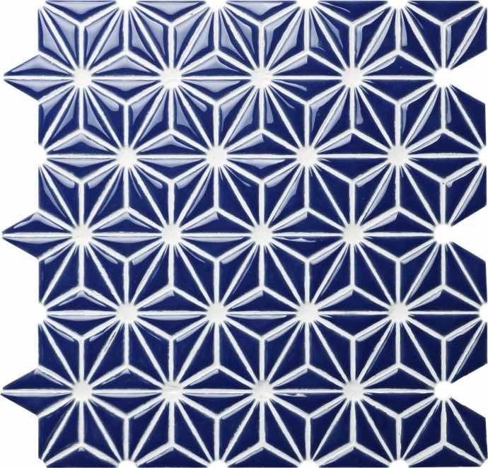 Ceramic Mosaic Tile Flower Navy Blue Ceramic Mosaic Tile Mosaic