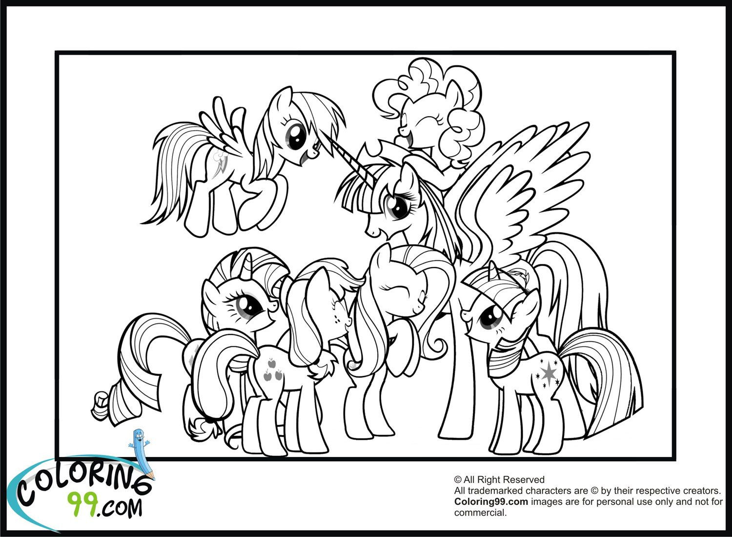 Mlp Friendship Is Magic Coloring Pages 1500x