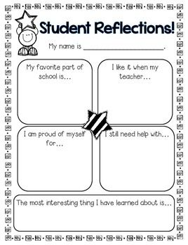 Student Reflections Page Great For Report Card Time Free