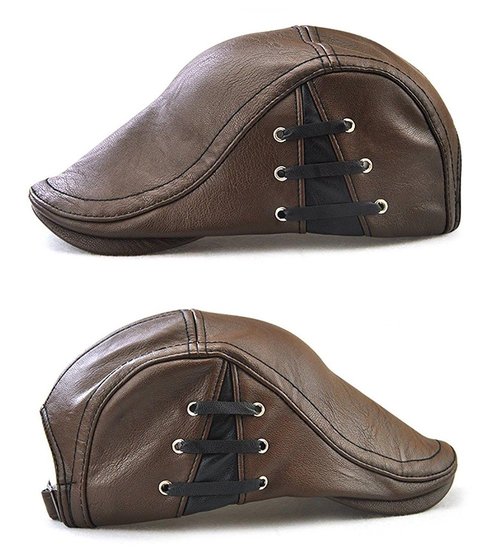 9b1fdd46a7a28 Men s Classic Leather Flat Ivy Vintage Newsboy Cap Golf Hunting ...