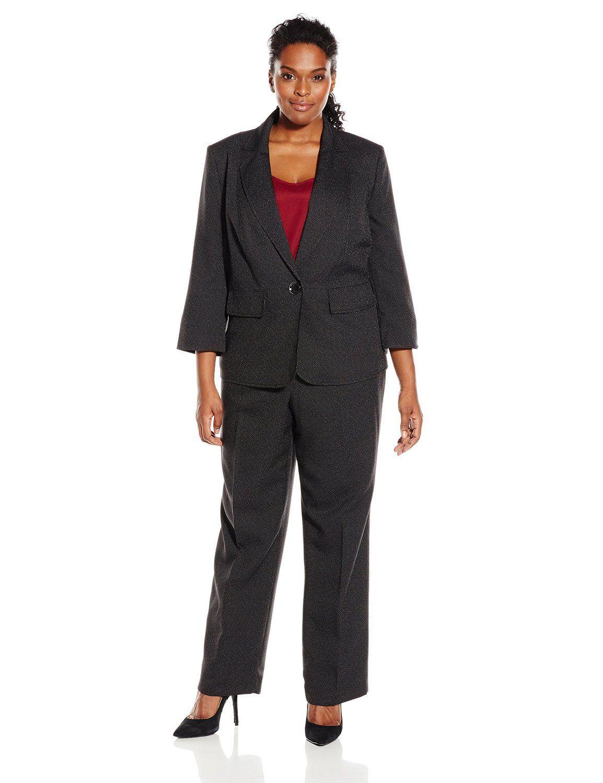Le Suit Women's Plus-Size Pinstripe Pant Suit, Black/White ...
