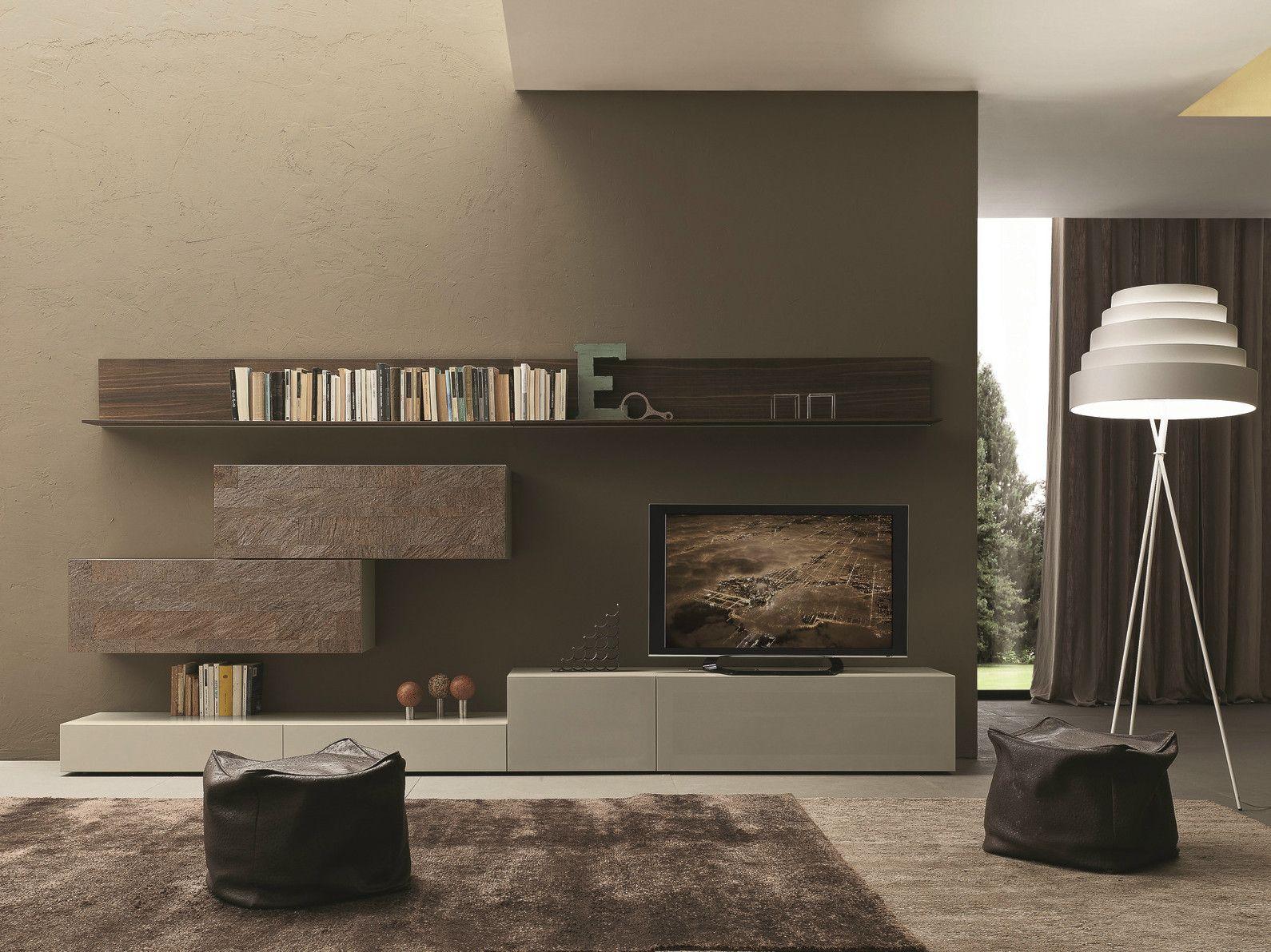 Parete attrezzata componibile fissata a muro con porta tv I-modulArt ...