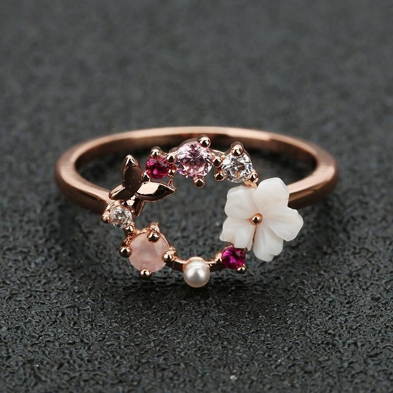 Butterfly Flower Crystal Ring